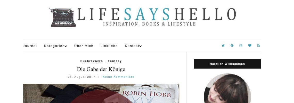 LifeSaysHello | Buchblog-Award 2017