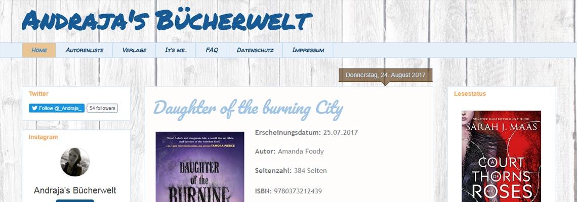 Andrajas Bücherwelt | Buchblog-Award 2017