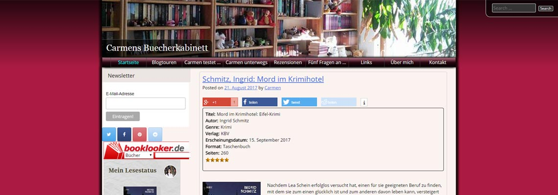Carmens Bücherkabinett   Buchblog-Award 2017
