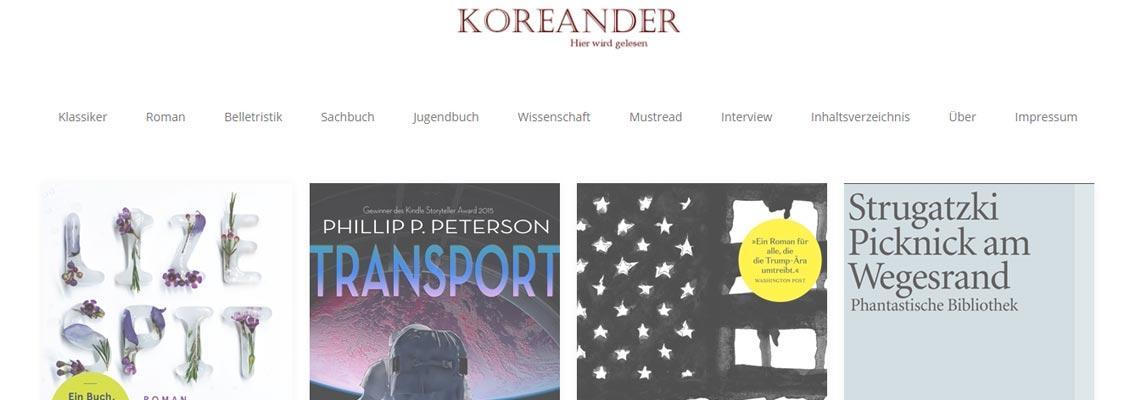 Koreander   Buchblog-Award 2017